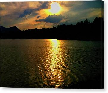 Canvas Print featuring the digital art Sunset In The Smoky Mountains 1 by Chris Flees