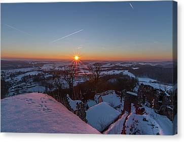 sunset in the Southern Harz Canvas Print by Andreas Levi