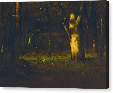 Sunset In The Woods Canvas Print by George Inness