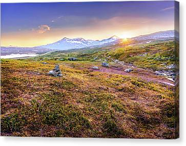 Canvas Print featuring the photograph Sunset In Tundra by Dmytro Korol