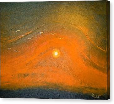 Canvas Print featuring the painting Sunset In Valleys by Piety Dsilva