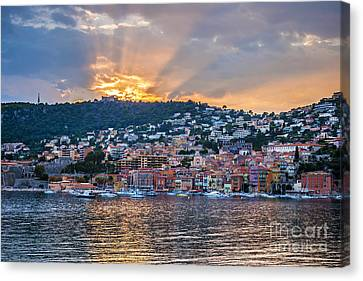 Sunset In Villefranche-sur-mer Canvas Print by Elena Elisseeva