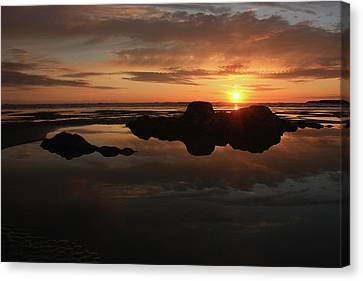 Sunset In Yachats Oregon Canvas Print by Kami McKeon