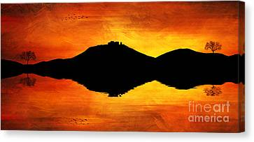 Canvas Print featuring the digital art Sunset Island by Ian Mitchell