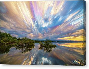 Sunset  Lake Reflections Timed Stack Canvas Print by James BO Insogna