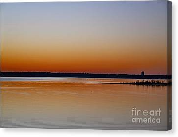 Canvas Print featuring the photograph Sunset Lake Texhoma by Diana Mary Sharpton
