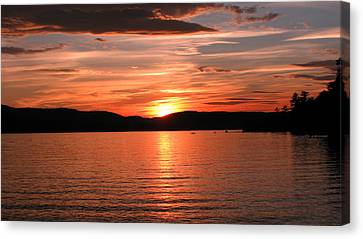Sunset-lake Waukewan 1 Canvas Print by Michael Mooney