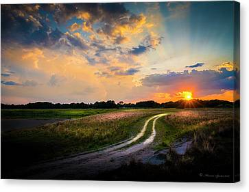 Sunset Lane Canvas Print by Marvin Spates