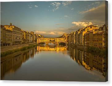 Sunset Light On The Ponte Vecchio Bridge Canvas Print by Chris Fletcher