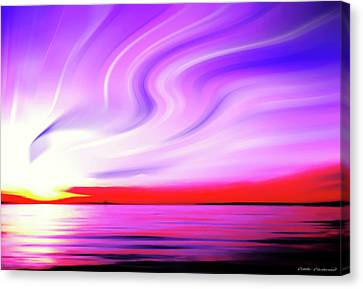 Sunset Light Painting At Edmonds Washington Waterfront Canvas Print by Eddie Eastwood