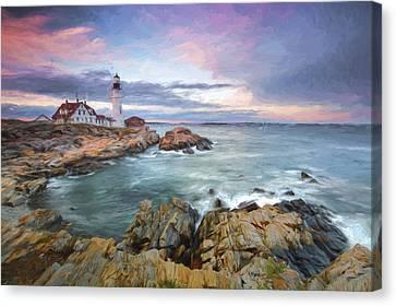 sunset lighthouse III Canvas Print by Jon Glaser
