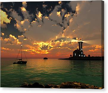 Sunset Lighthouse Canvas Print by Jim Coe