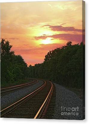 Sunset Lighting Up The Rails Canvas Print