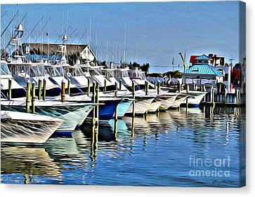 Sunset Marina Canvas Print by Carey Chen