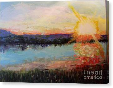 Canvas Print featuring the painting Sunset by Marlene Book