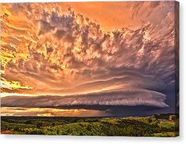 Canvas Print featuring the photograph Sunset Mothership by James Menzies