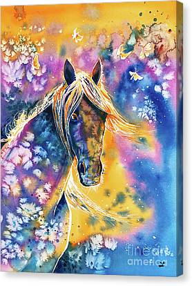 Canvas Print featuring the painting Sunset Mustang by Zaira Dzhaubaeva