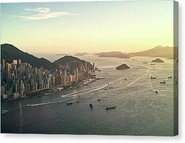 Sunset Of Hong Kong Victoria Harbor Canvas Print