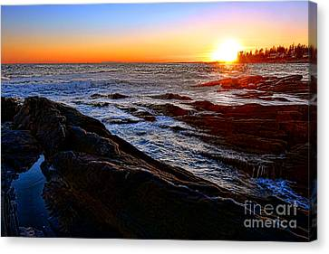 Sunset Off Pemaquid Point Canvas Print by Olivier Le Queinec
