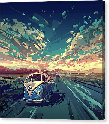 Sunset Oh The Road Canvas Print by Bekim Art