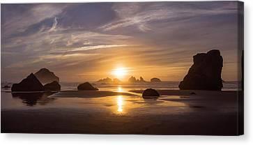 Sunset On Bandon Beach Canvas Print