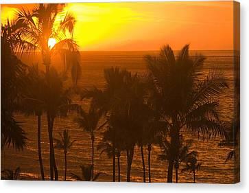 Sunset On Beach, Wailea, Hawaii Canvas Print