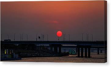 Sunset On Bridge Canvas Print