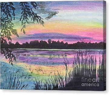 Sunset On Buck Pond Canvas Print by Judy Via-Wolff