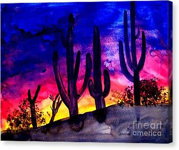 Sunset On Cactus Canvas Print by Michael Grubb