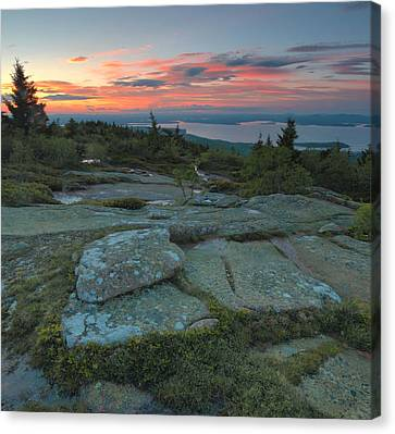 Canvas Print featuring the photograph Sunset On Cadillac Mountain by Stephen  Vecchiotti