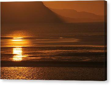 Canvas Print featuring the photograph Sunset On Coast Of North Wales by Harry Robertson