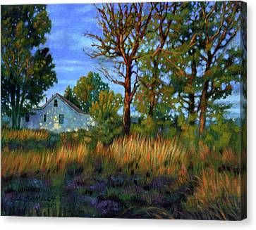 Sunset On Country Home Canvas Print by John Lautermilch