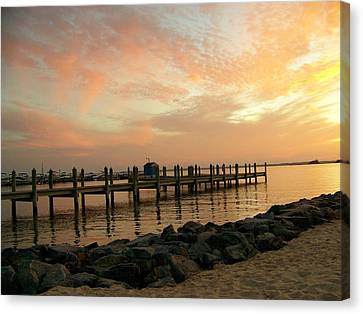 Sunset On Dewey Bay Canvas Print