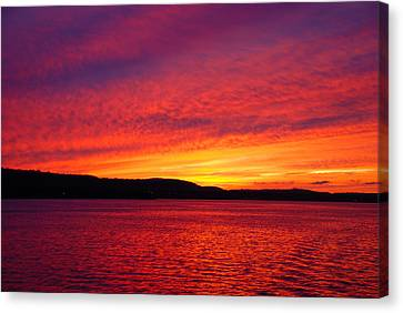 Sunset On Fire Canvas Print by Larry Nielson