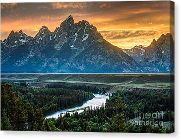 Alpine Canvas Print - Sunset On Grand Teton And Snake River by Gary Whitton