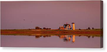 Sunset On Harbor Canvas Print by Michael Petrizzo