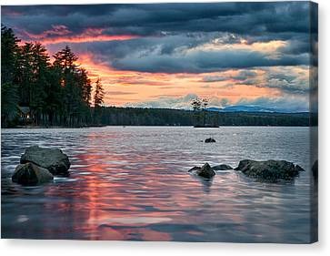 Maine Mountains Canvas Print - Sunset On Highland Lake by Darylann Leonard Photography