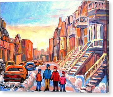 Sunset On Hotel De Ville Street Montreal Canvas Print by Carole Spandau