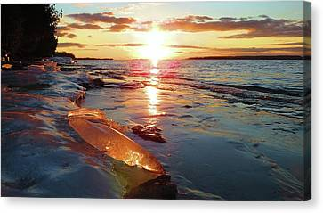 Sunset On Ice Canvas Print