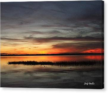 Sunset On Lake Lochloosa Canvas Print by Judy  Waller
