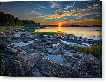 Canvas Print featuring the photograph Sunset On Littlejohn Island by Rick Berk