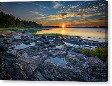 Canvas Print featuring the photograph Sunset On Littlejohn Island by Rick Berk