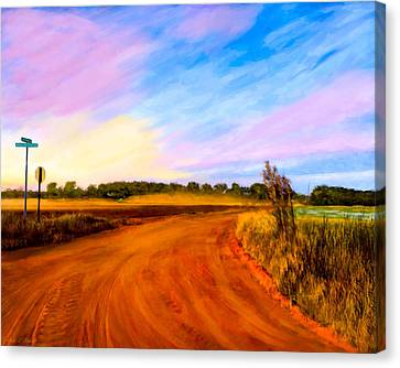 Sunset On Old Dirt Roads In Georgia Canvas Print by Mark E Tisdale