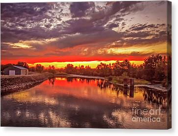 Sunset On Payette River Canvas Print by Robert Bales