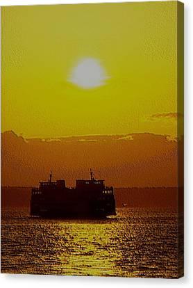 Sunset On Puget Sound Canvas Print by Tim Allen