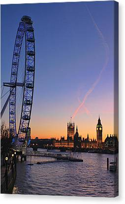 Sunset On River Thames Canvas Print
