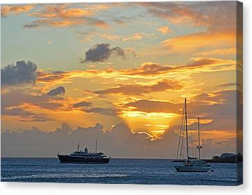 Sunset On Simpon Bay Saint Martin Caribbean Canvas Print