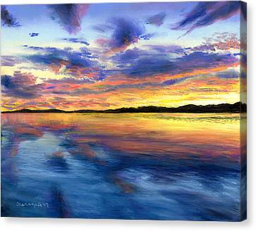 Sunset On Snow Pond Canvas Print by Shana Rowe Jackson
