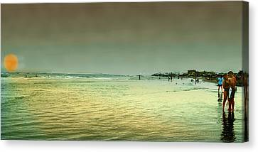 Sunset On The Beach Canvas Print by Ken Gimmi