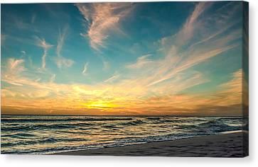 Sunset On The Beach Canvas Print by Phillip Burrow